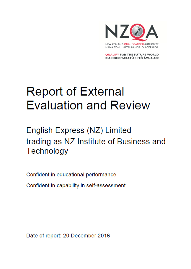 External Quality Assurance Report from NZQA